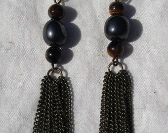 Hematite And Tiger Eye Chain Tassel Earrings