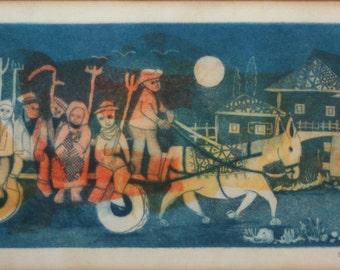 Signed Mid-Century Modern Woodcut Print by Amram Ebgi- European Jewish Village