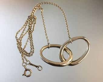 8e028d935 Vintage Authentic TIFFANY & CO Rare Elsa Peretti Double Oval Ring Pendant  Necklace, Elsa Peretti Necklace Rolo Chain, Peretti, 925 Sterling