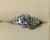 Art Deco Diamond Engagement in Platinum By Birks, Centre Stone 0.93 carat ,Approx Total Ct. Weight 1.80 ct. Half Moon Diamonds, Antique Ring