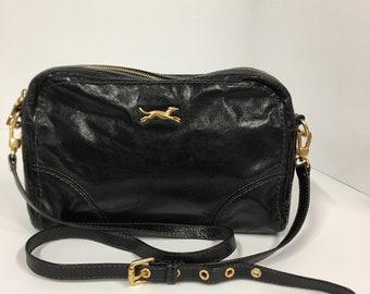 4001d79b120 Vintage Bimba and Lola Black Leather Cross Body Bag, Gold Hardware,  Designer Purse, Ajustable Shoulder Strap, Bimba Y Lola Leather Purse