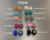 Sterling Silver 12mm Birthstone Charms Swarovski Crystal Charm Bracelets, Birthday Gifts, Pandora Style, 925 Bracelet Inserts FREE SHIPPING