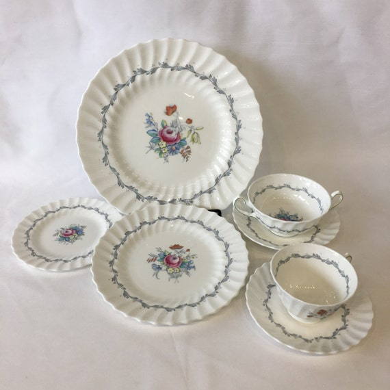 Royal Doulton Chelsea Rose Pattern Grey Scroll Ring Floral Center and Scalloped Edge English China, Teacup and Saucer Set H4801