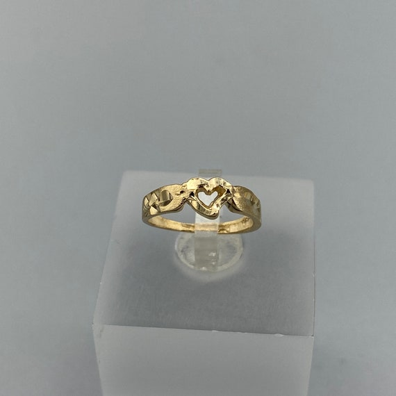 Vintage Open Heart 10k Yellow Gold Baby Ring, Hear