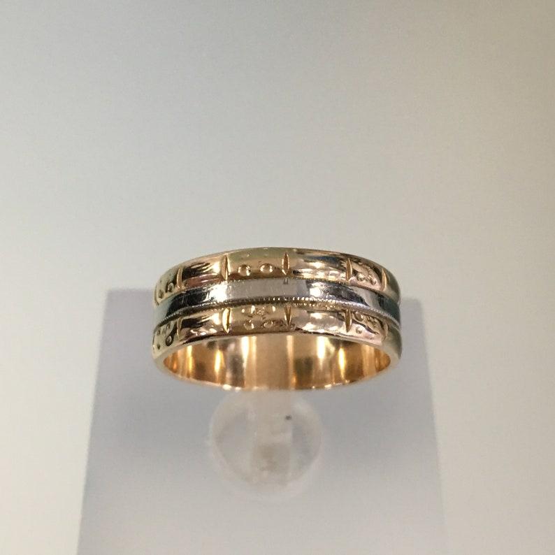cef26a770a8272 Opaska do wesela 14K żółte i białe złoto obrączka damska | Etsy