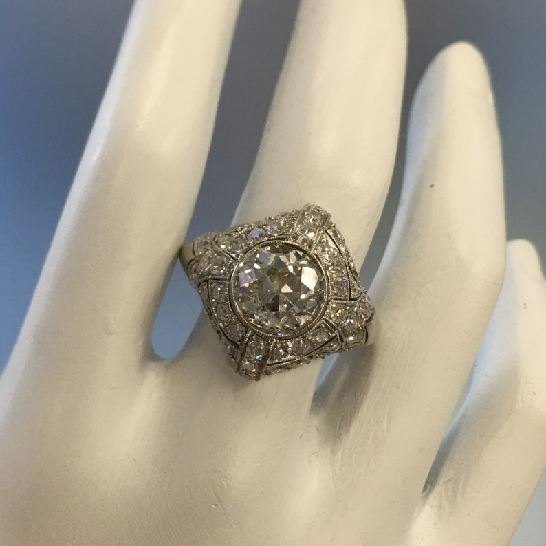 bca5668796cf9 Art Deco 2.05 Carat Diamond Platinum Engagement Ring Geometric Dome Style  SI2 Colour J, Antique Engagement Ring, Diamond Statement Ring