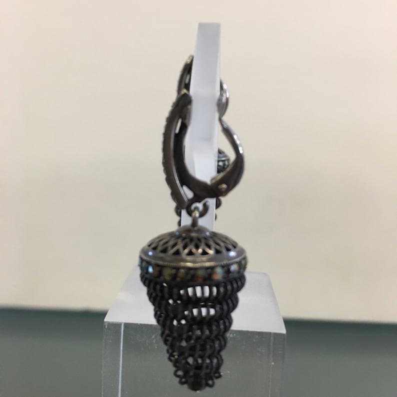 Beehive Dangle Earrings Art Deco Earrings Swirl Dangle Silver Openwork Design Art Deco Swirl Dangle Earring 935 Silver with Marcasites
