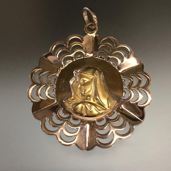 Retro 18k Madonna Pendant, Large Gold Virgin Mary