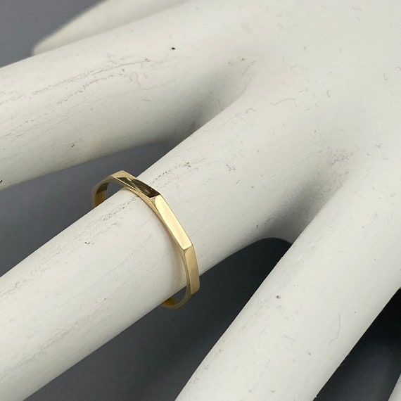 Vintage Octagonal Gold Ring 10k Solid Gold Band Di