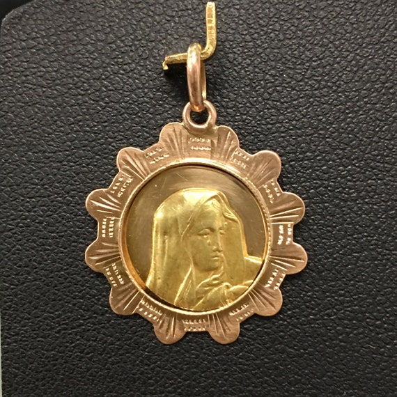 Vintage 18k Gold Virgin Mary, 750 Gold Weeping Mad