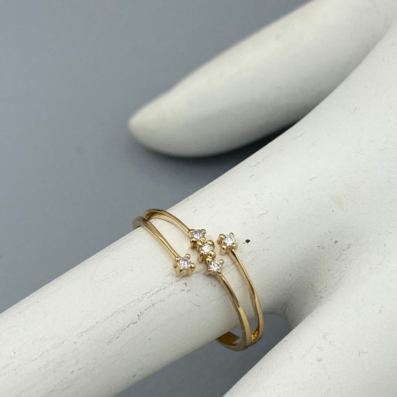 Vintage Diamond Bypass Ring 14k Yellow Gold, Thin