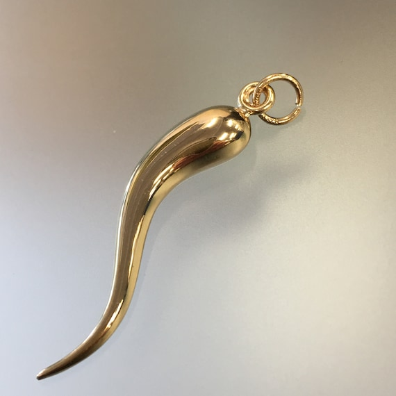 Vintage Italian Horn Pendant 10K Yellow Gold Itali