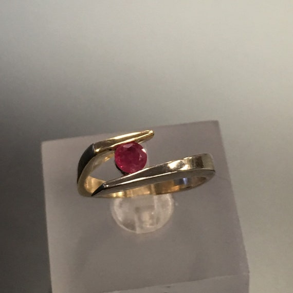 Vintage Bypass Ring Ruby Set in 10k Yellow and Whi