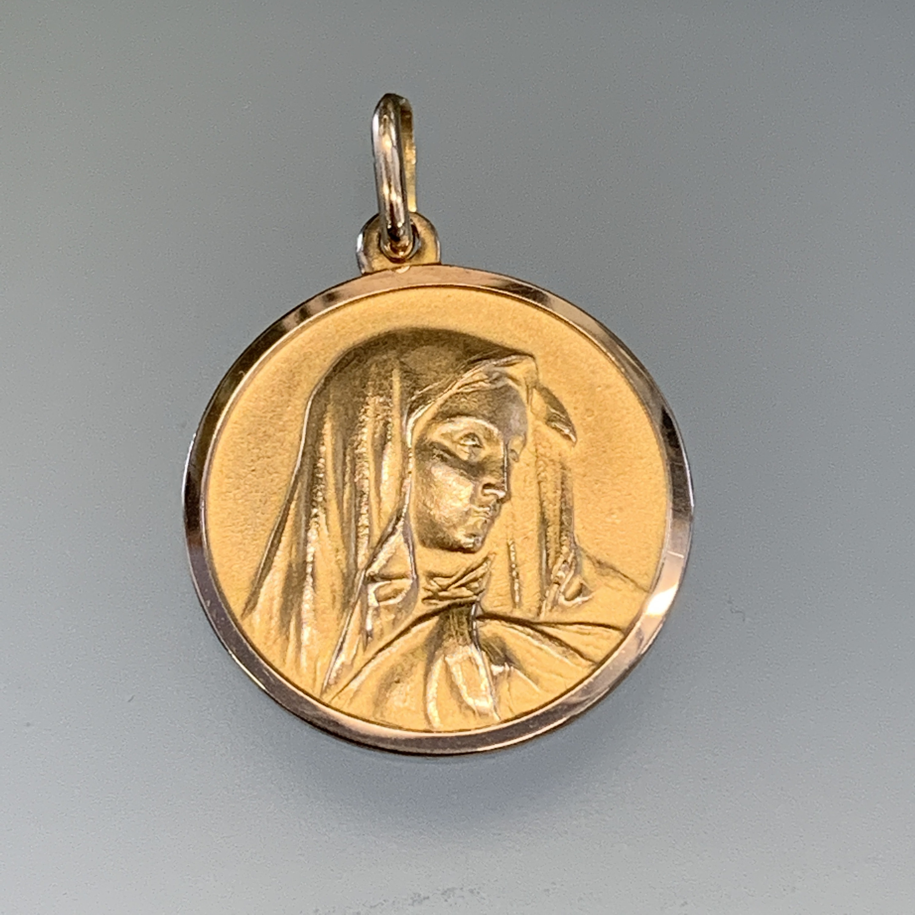 Solid 14k Yellow Gold Lady Guadalupe Pendant Virgin Mary Charm Religious Style