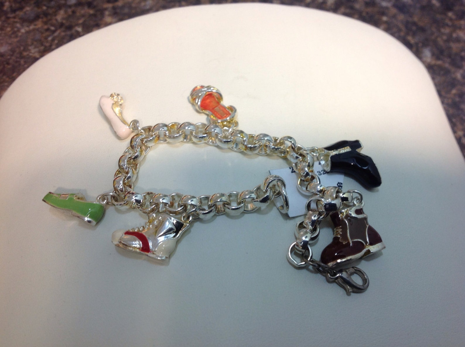3d , 6 shoe charms , with enamel ,bracelet, ballet shoe, boots, sandal, runner