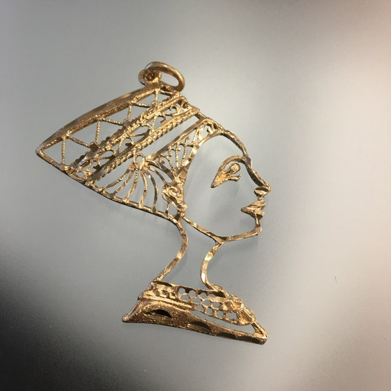 Nefertiti Egyptian Queen Head Pendant 10k Yellow G