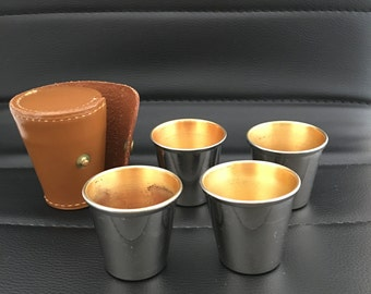Vintage Stainless Nesting Shot Cups Set W/4 Cups in Leather Case: Made in Canada