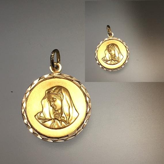 Vintage Madonna 14k Gold Double Sided Pendant, Mad