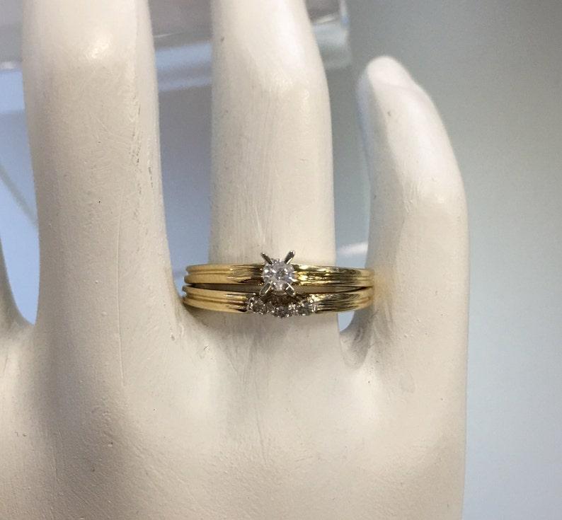 Vintage Diamond Wedding Ring Set 10k Yellow Gold Engagement Wedding Band Wedding Rings Set Matching Diamond Wedding Rings Set