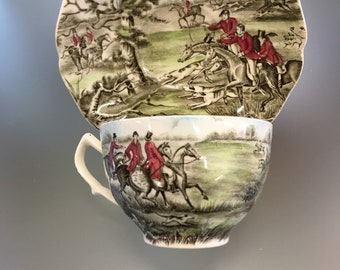 Johnson Brothers Tally Ho VIEW HALOO Cup & Saucer SetTally Ho by JOHNSON Bros made in Hanley England Fox Hunt Scene Cabinet Plates
