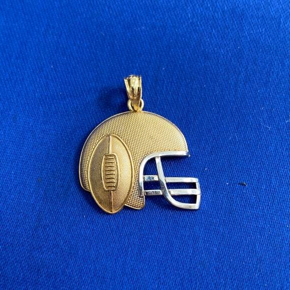 Football Helmet 10k Gold Pendant Textured 10K Two-