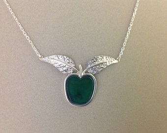 Hand made sterling Silver Green Apple w/Leaves on Chain Necklace, Apple Necklace, Handmade leaf Jewellery,Apple of My Eye