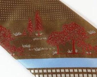 Vintage Tie Brown Blue Woven Trees Fall Autumn Necktie