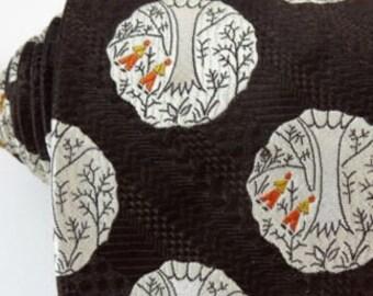 Vintage Wide 1970s Tie Brown Orange Polka Dot Woven Trees Necktie