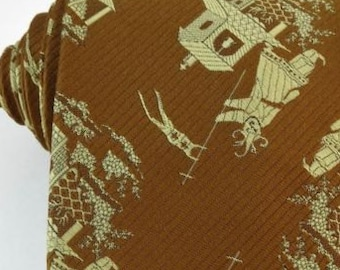 Vintage Tie Wide Golden Necktie Woven Asian Design
