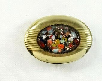 Anson Vintage Cufflinks Confetti Art Glass Colorful Oval Cuff LInks