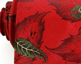 Vintage Oakton Red Green Tie Autumn Fall Leaves Woven Necktie Made in Canada