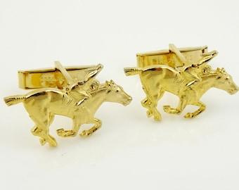 Solid Bronze Oakmont Cufflinks Horse Cufflinks Horses Cuff Links