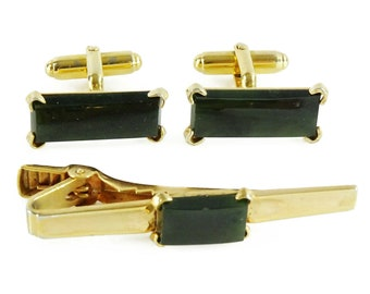 Vintage Anson Tie Clip Faux Pearl  on Gold Plated Brass Signed Made in USA 1950/'s