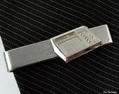 Vintage Tie Clip Old Machine Help Silver Tone Robbins Co