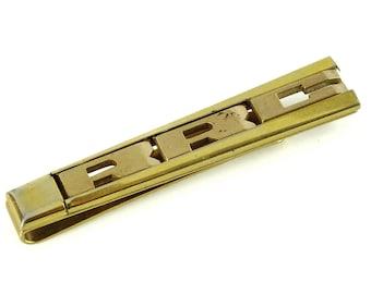 Letters CEU Initials Vintage Swank Tie Bar Clip 1940s Monogram