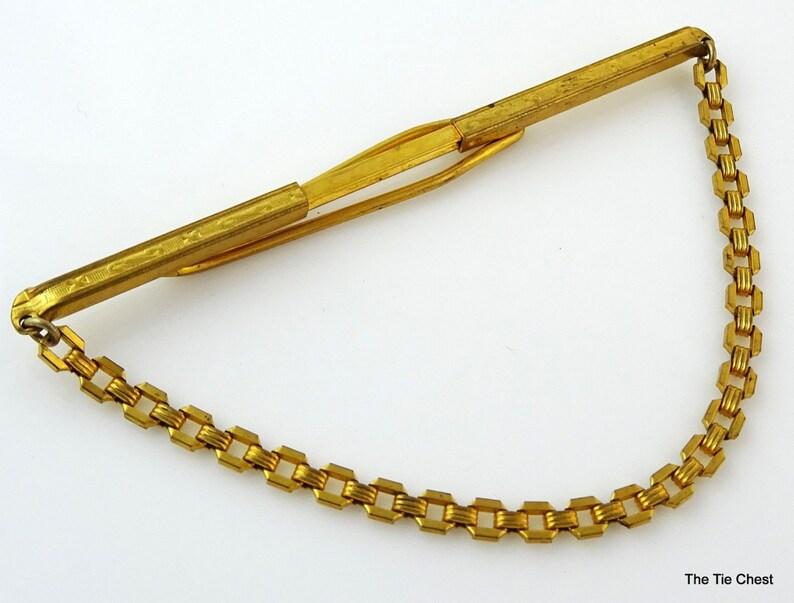 Vintage Tie Chain Nu-Lok Adjustable Width 2 14 to 3 Gold Tone