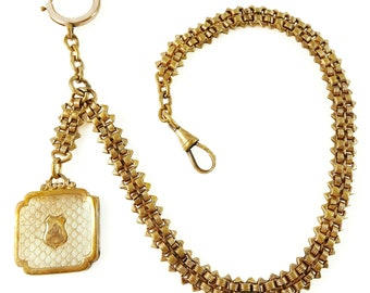 """Vintage Pocket Watch Chain Single Albert with Fob Dangle 12"""""""