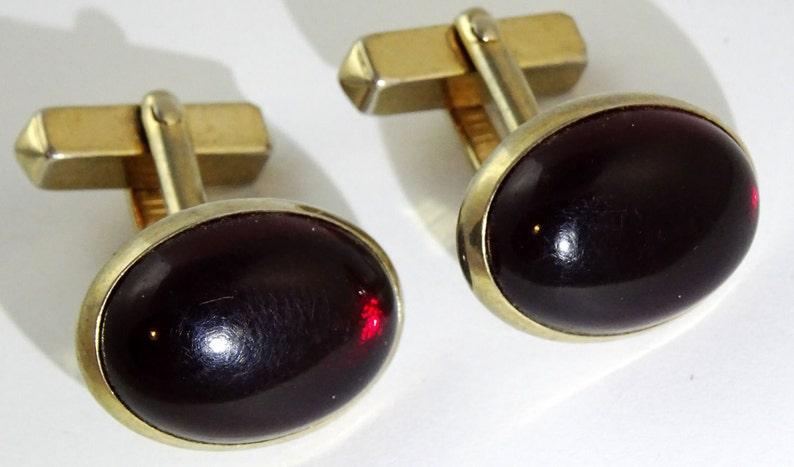 Vintage Swank Red Cufflinks Oval 1940s 50s