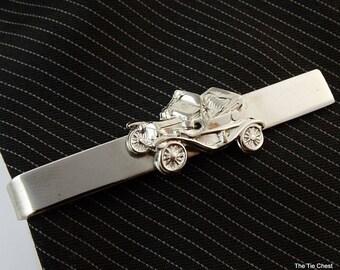 "Vintage Tie Clip Bar Old Car Buggy Silver Tone Mens Jewelry 2"""