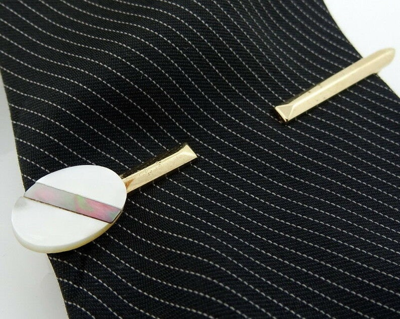 Swank Vintage Tie Bar Pierced Look White Mother-of-Pearl 2.5 1950s