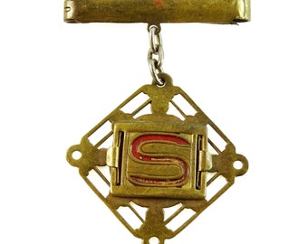 Letter S Initial Antique Pin Dangle Drop Brooch