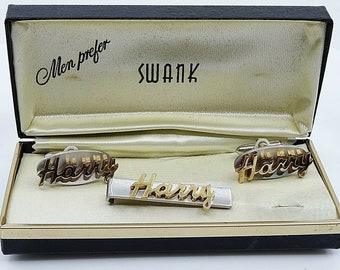 HARRY Name Vintage Cufflinks Tie Clip Bar Set Swank NOS Original Box 1950s