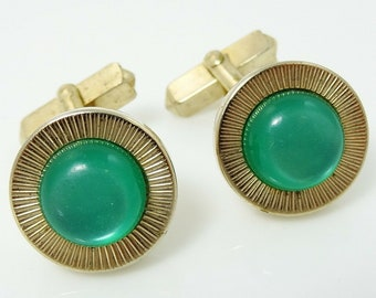 Green Cufflinks Swank Moonglow Round Angled Posts 1940s Vintage