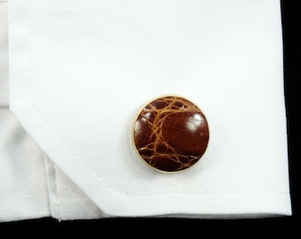 Hickok Vintage Cufflinks 1950s Round Brown Faux Leather Western Style Cuff Links