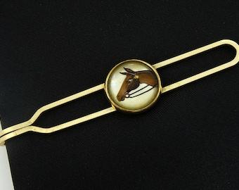 Kreisler Reverse Painted Horse Vintage Tie Bar Clip 1940s
