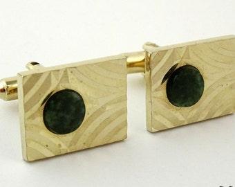 Dante Cufflinks Vintage Goldtone with Green Jade Stone