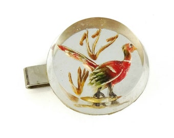 Pheasant Vintage Tie Clip Bar Clear Lucite Bird Interesting Piece!