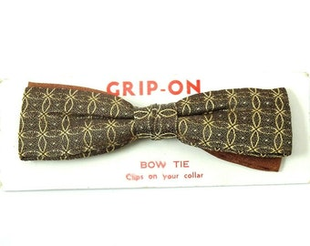 Royal Vintage Clip On Bow Tie 1950s Brown Gold Bowtie Rust Resistant