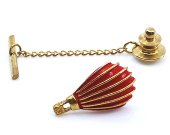 Vintage Hot Air Balloon Tie Tack Pin Red