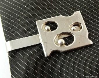"SWISS CHEESE Tie Clip Bar Clasp 1.75"" 4.5cm Silver Tone Men's Jewelry"